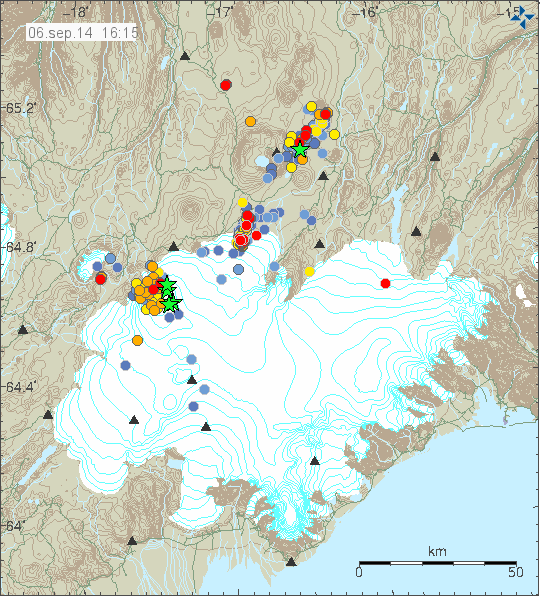 Location and magnitude of earthquakes on the northern Vatnajökull / Dyngjujökull - Doc. IMO