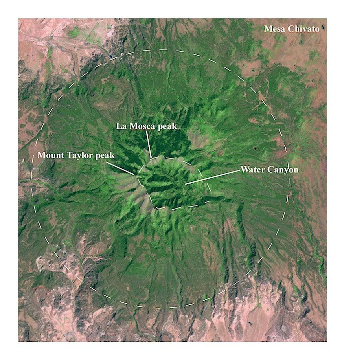 Topographie du Mt Taylor - photo Nasa / New Mexico museum of Natural History and Science.