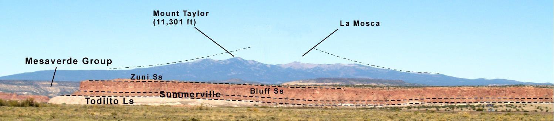 Coupe Mt Taylor, vu du nord-ouest de l'Interstate 40 près de Mesita - photo NMM