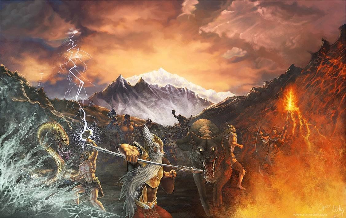 Vue d'artiste de Ragnarök, le combat final - photo Norse mythology.