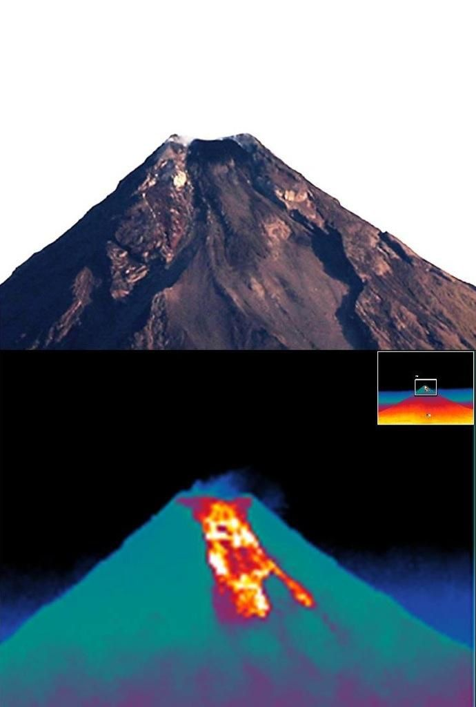 Mayon on 09/23/2014 - Photo in natural light versus thermal image of the dome-flow - photo Mahar Lagmay / pic.twitter.com/khpMqRyTN5