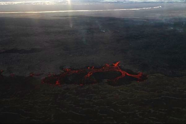 Holuhraun - rupture du bord nord de la coulée de lave le 22.09.2014 - photo IES