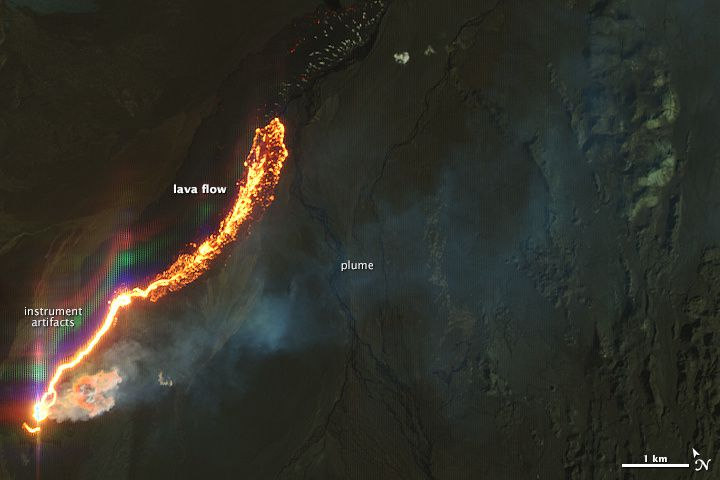 Holuhraun - 20/09/2014 lava flow view satellite EO-1 / Ali NASA