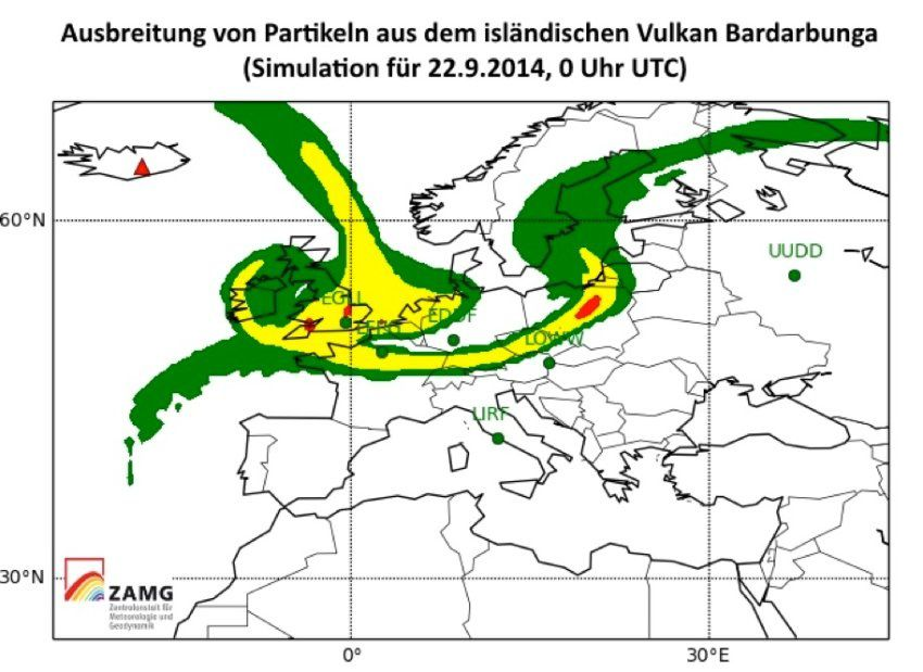 Simulation of the movement of fine particles on 09/22/2014 over the British Isles, Germany, Holland, Belgium, and northern France - map Der Spiegel on line
