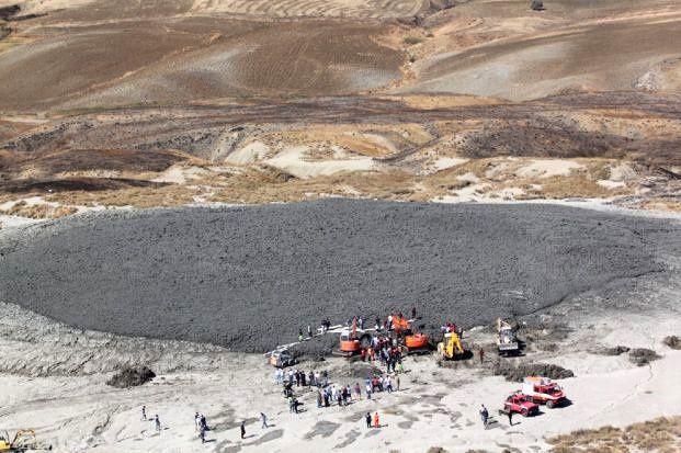 Maccalube di Aragona - les secours mobilisés par l'incident du 27.09.2014 - photo MeteWeb