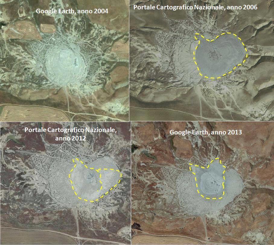 Evolution of Maccalube di Aragona between 2003 and 2013 - Image credit Franco Ortolani (www.geologi.it) / MeteoWeb