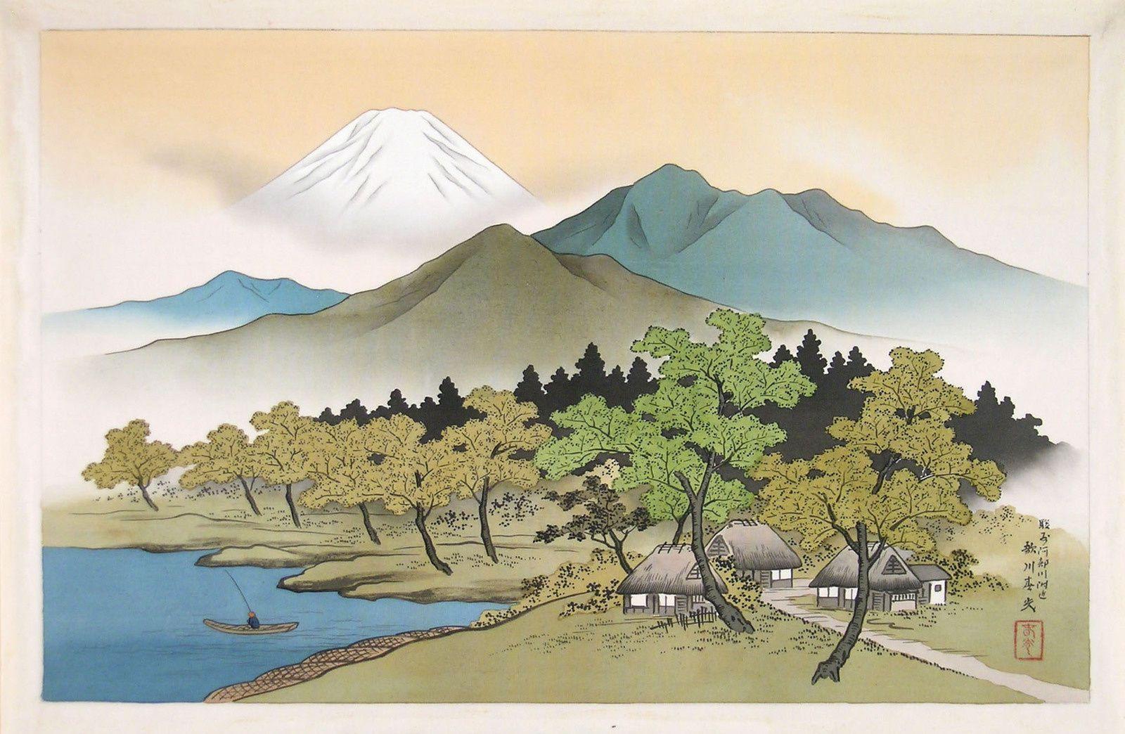 """""""Paysage du Mont Fuji avec lac"""" - d'HARUMITSU  UTAGAWA - Encre et couleur sur soie ( 285 x 430 mm)."""