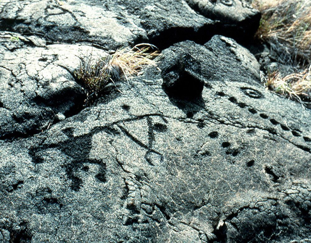 Pétroglyphes de Pu'u Loa - cercles, trous alignés et autres figures - photo National volcanoes Park of Hawaii