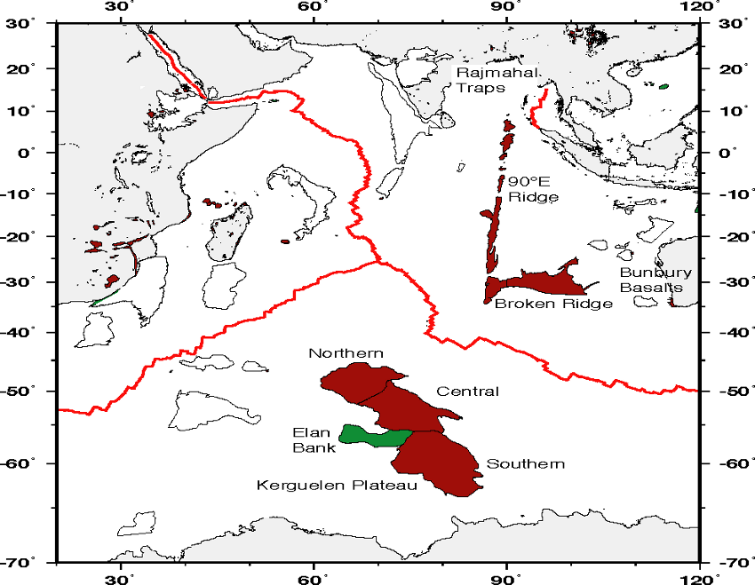 Separation of the oceanic plateaus Kerguelen from Broken Ridge / oceanic ridges in red :  West Indian ridge to the left,  Carlsberg to the center anf East Indian ridge to the right.
