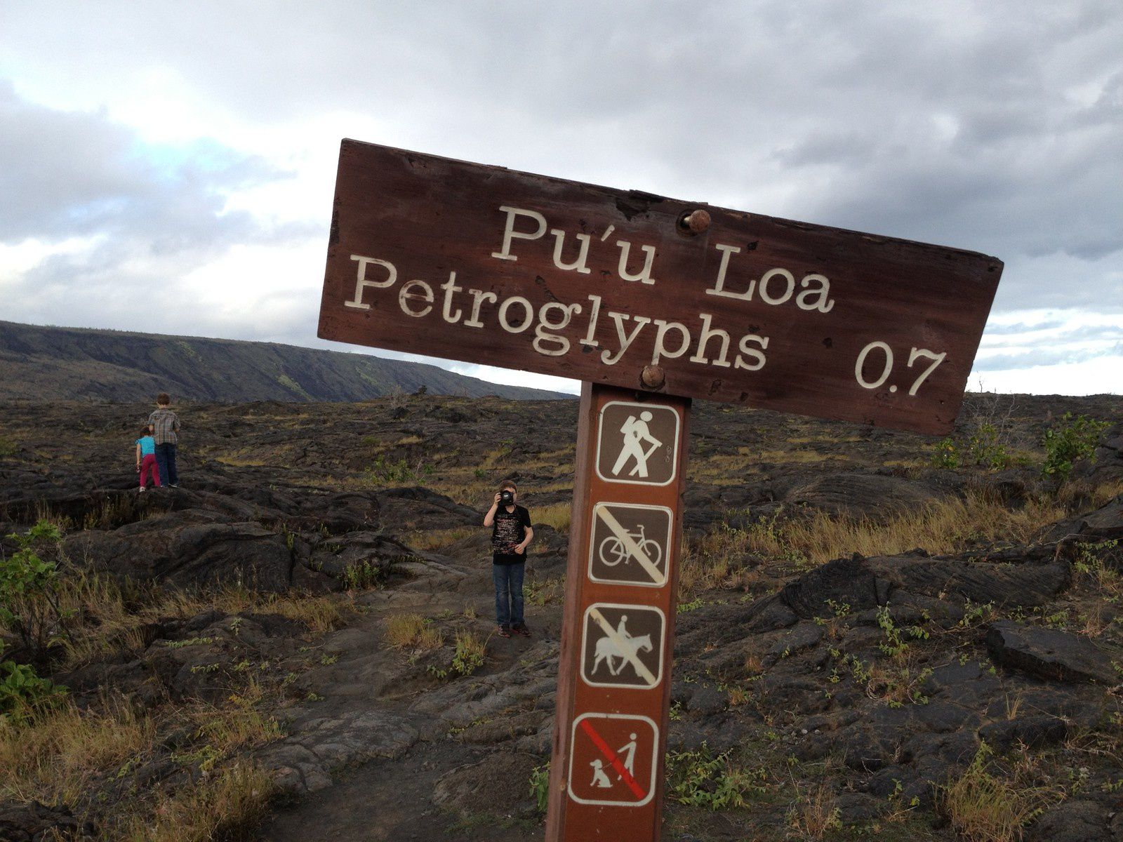 The trail to the Pu'u Loa Petroglyphs pass in the fields of pahoehoe lava. - Photograph by Christopher Elliott - Nat Geo