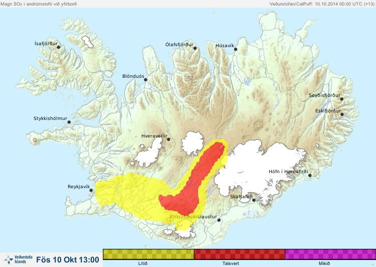 Map of pollution on the southwest of Iceland on 10/10/2014 / 13h - doc IMO