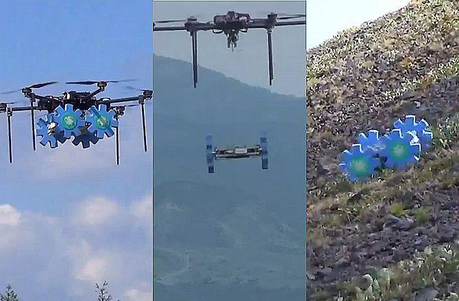 Test d'UAV & d'UGV couplés sur un volcan actif, l'Asama - cliché Tohoku University Japan.