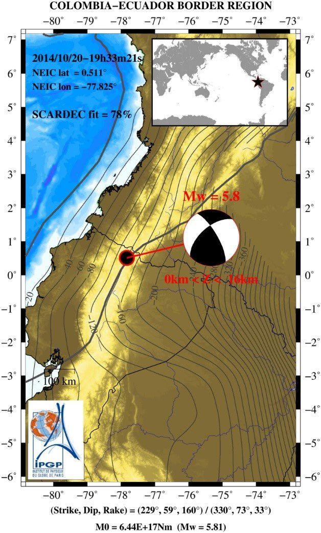 Séismes du 20.10.2014 - M 5,8 - doc Geoscope / IPGP