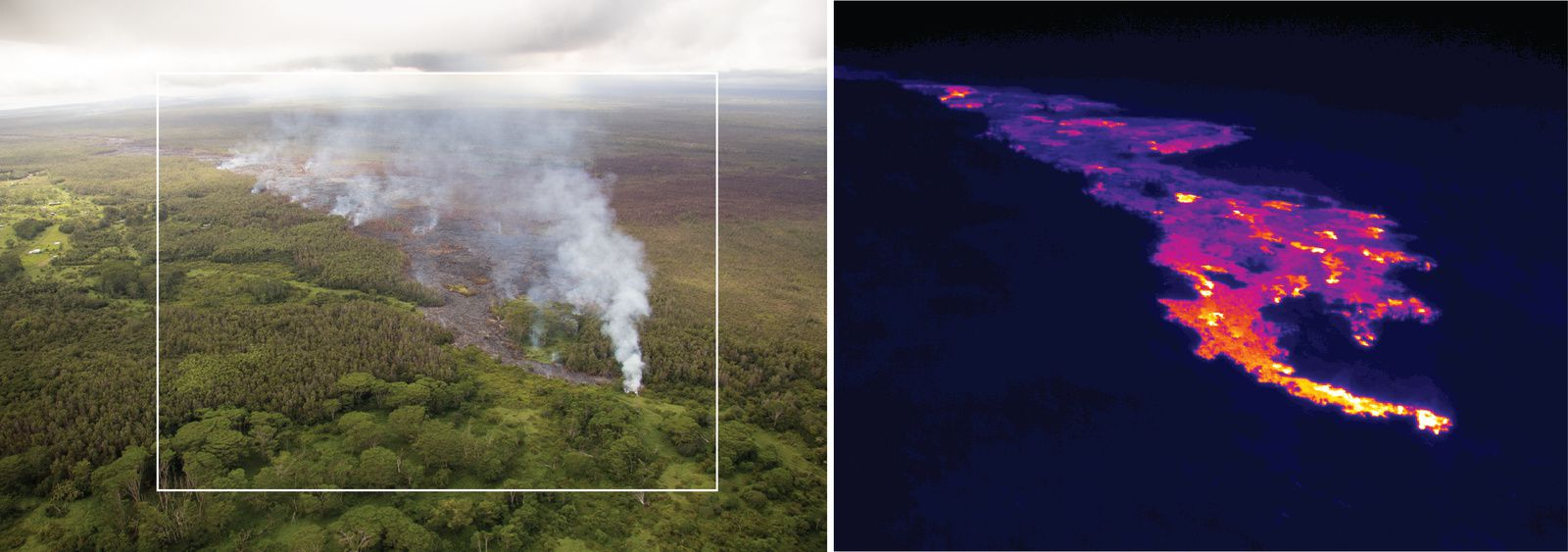 "East Rift Zone - "" June 27's lava flow"" by day and a thermal imaging camera - one click to enlarge - doc. HVO"