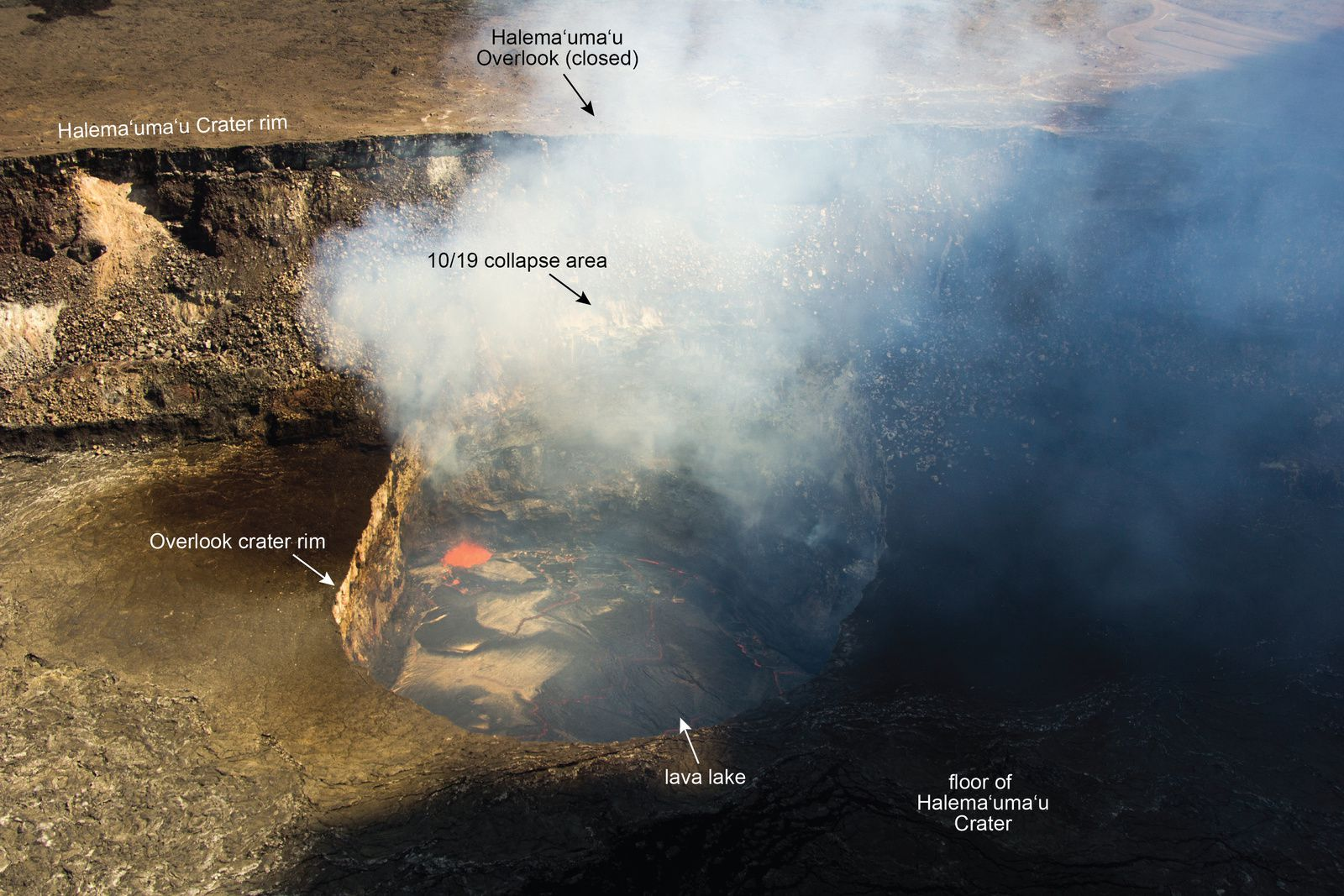 . Collapse of the Crater Overlook - October 19, 2014 - photo HVO