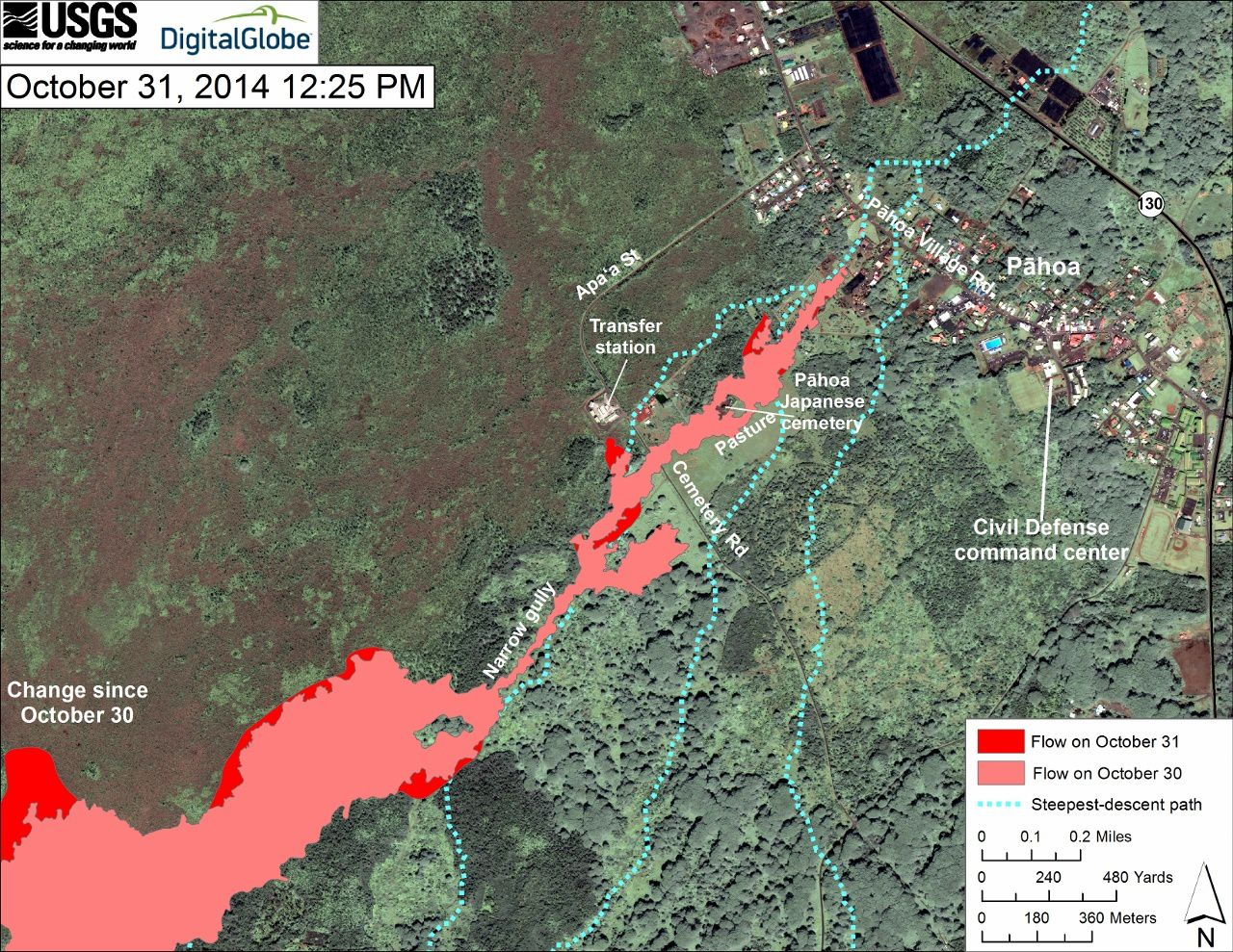 Maps of the flow on 29.10, 31.10 and 11.01.2014 (latest developments in bright red) - a click to enlarge - doc-USGS HVO / Digital Globe
