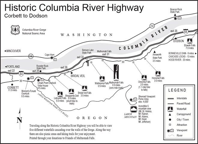 Columbia River Gorge - situation of the water falls and Oneonta Gorge
