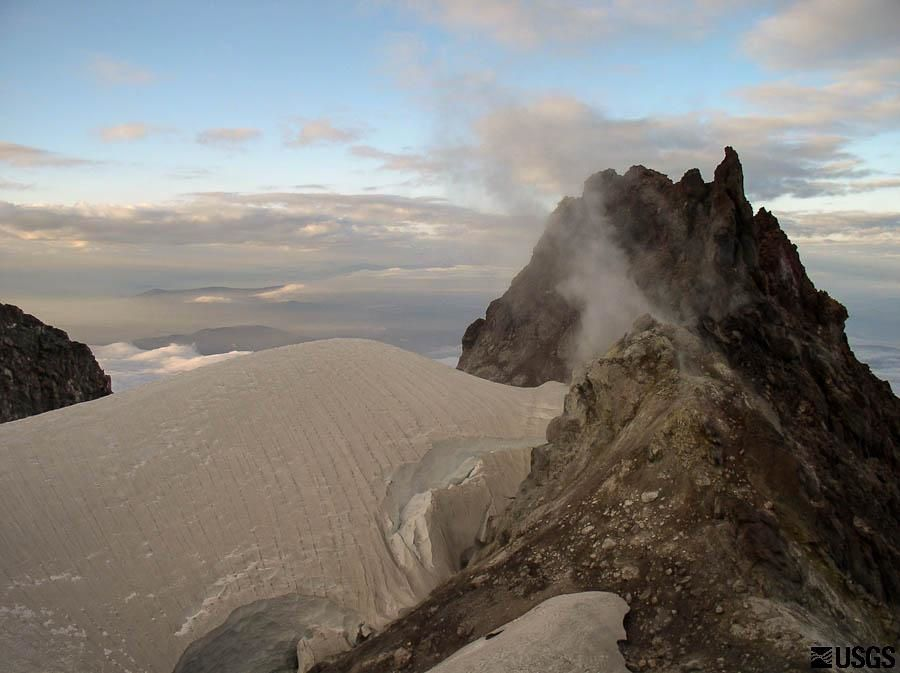 Steaming altered ground of the Mt Hood's summit - James Howles USGS