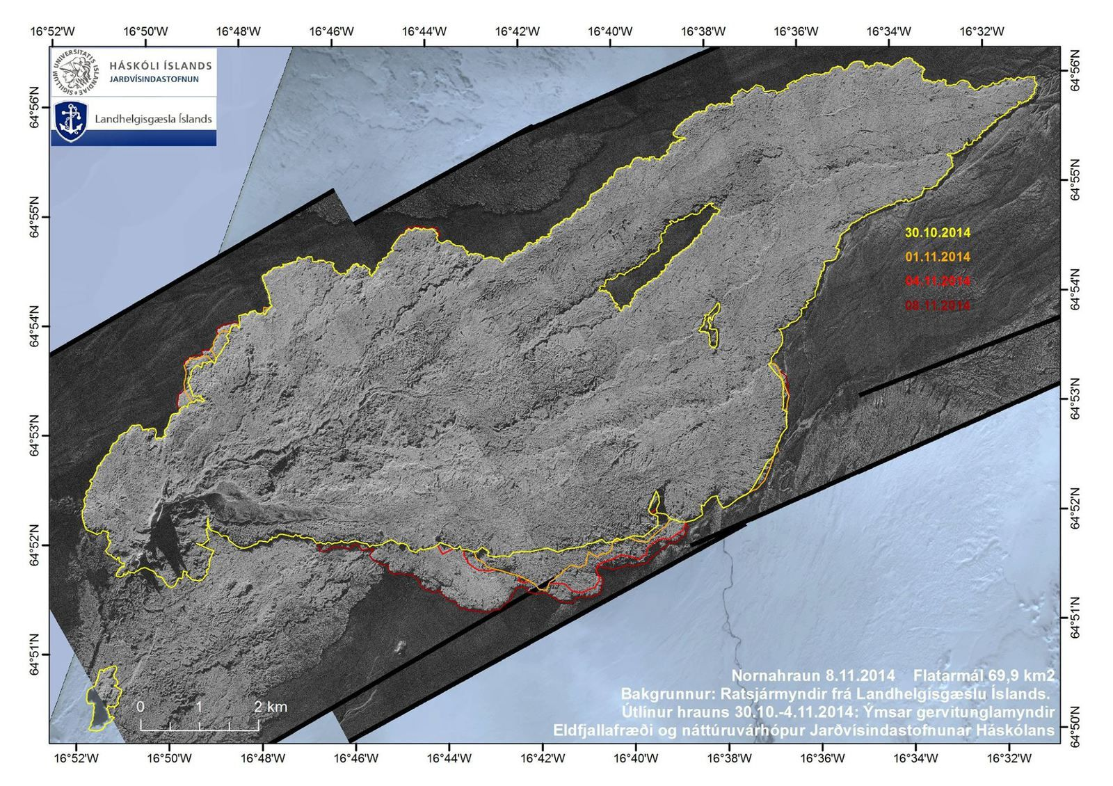 Last map of the lava field Holuhraun - Doc. IES 11/08/2014