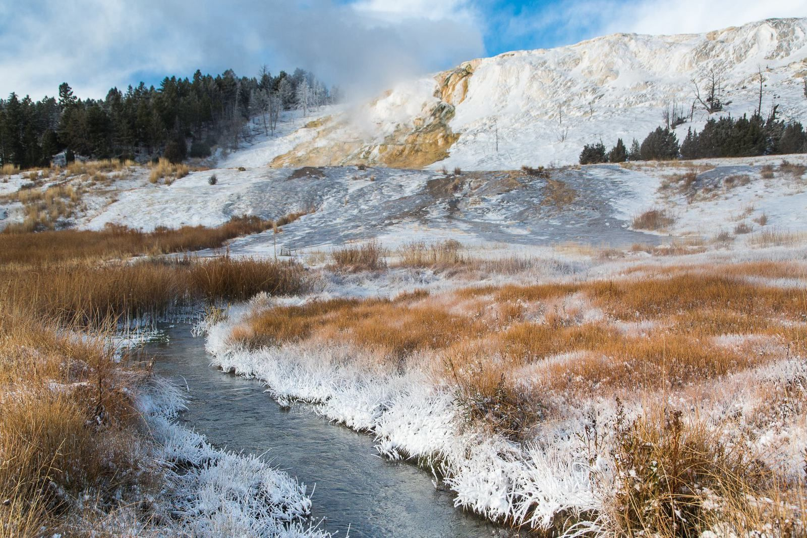 Mammoth Hot Springs in the snow and ice - photo Yellowstone National Park in 2014