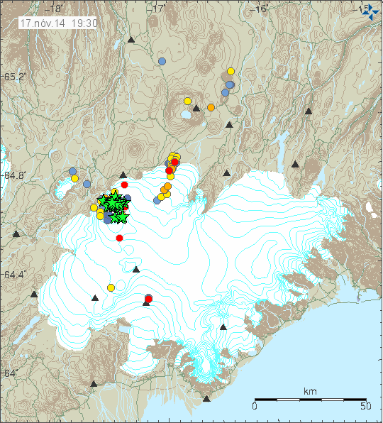 Seismicity in the area of the Vatnajökull 11.17.2014 / 19h30 - Doc. IMO