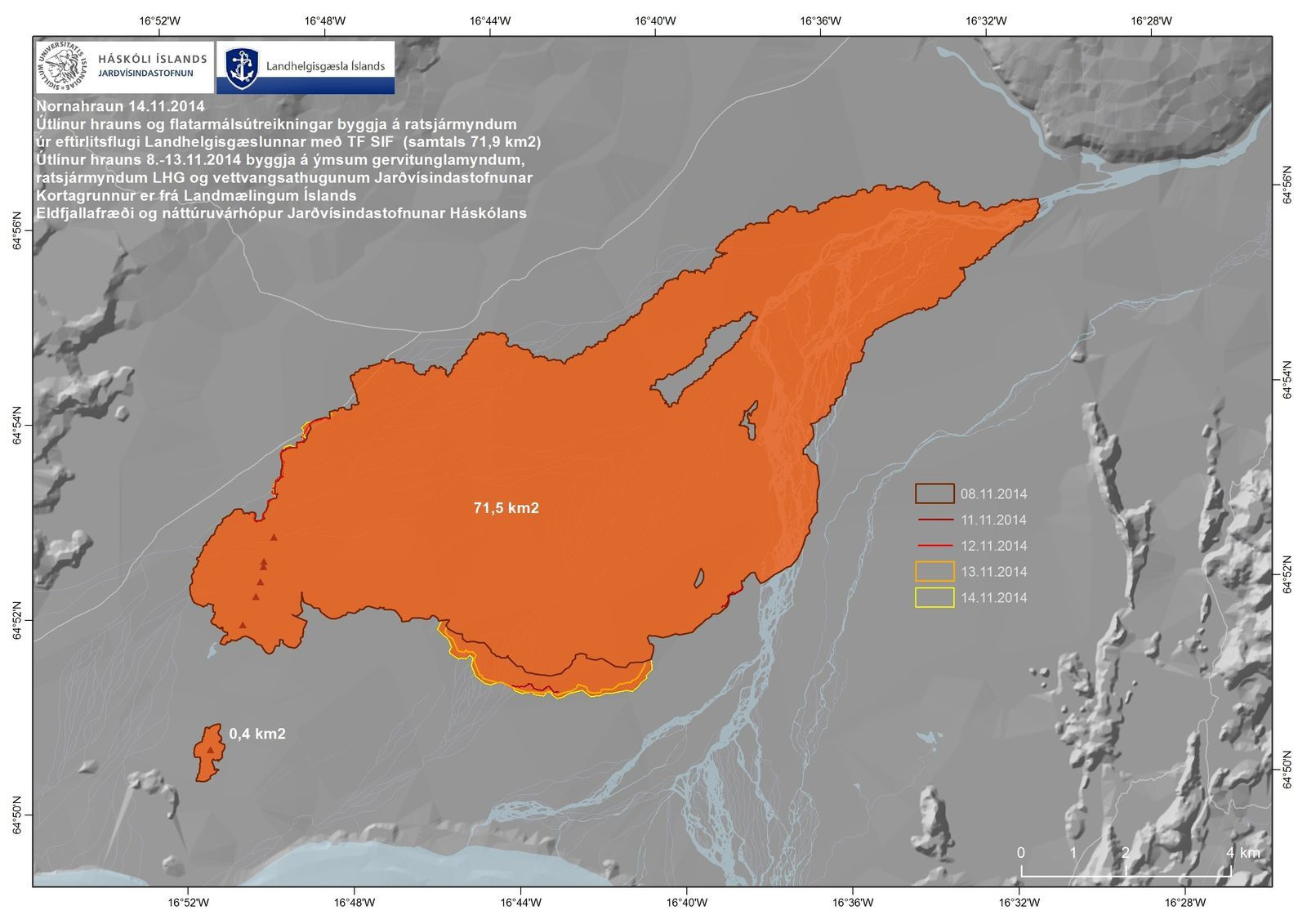 The lava field of Holuhraun - top card: 11.14.2014 / IMO - image below: 11.16.2014 / NASA Landsat 8 / NASA-USGS