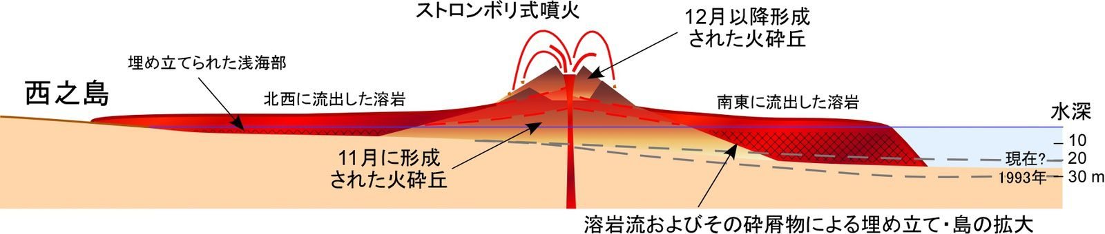 Nishinoshima - evolution and distribution of lava flows - On the cross section,  you can see an accumulation of the lava flows to the east (right side of the diagram) - doc eri.u-tokyo