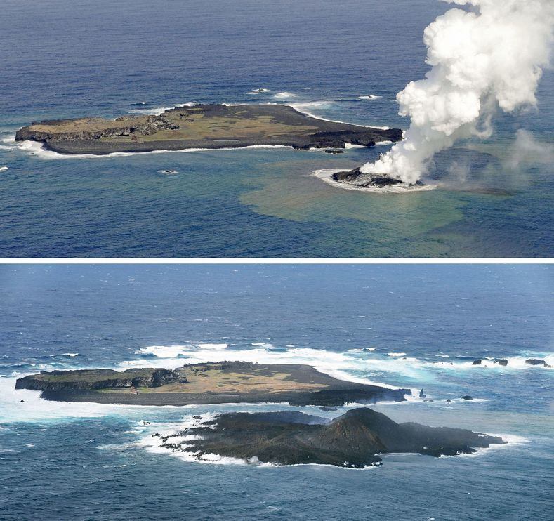 Progression of the new island between November and 12/21/2013 - photo Kyodo / AP