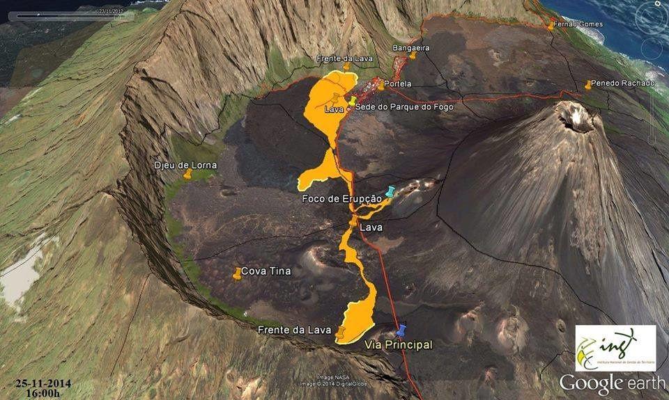 Fogo - carte des coulées le 25.11.2014 / 16h - doc. INET