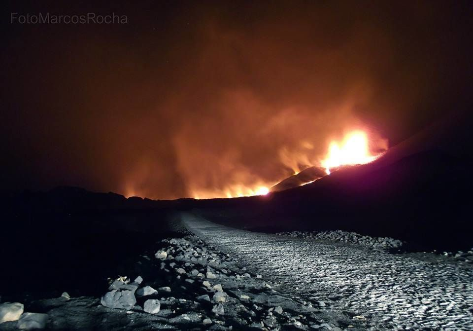 Fogo - the road to the south cut off by the lava flow - photo Marcos Rocha via Fogo News
