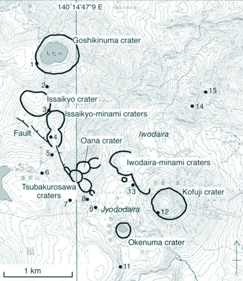 "Craters of the ""young"" Azuma - according to Yamamoto T. (2005) Eruptive history of Azuma volcano, NE Japan, DURING last 7,000 years."