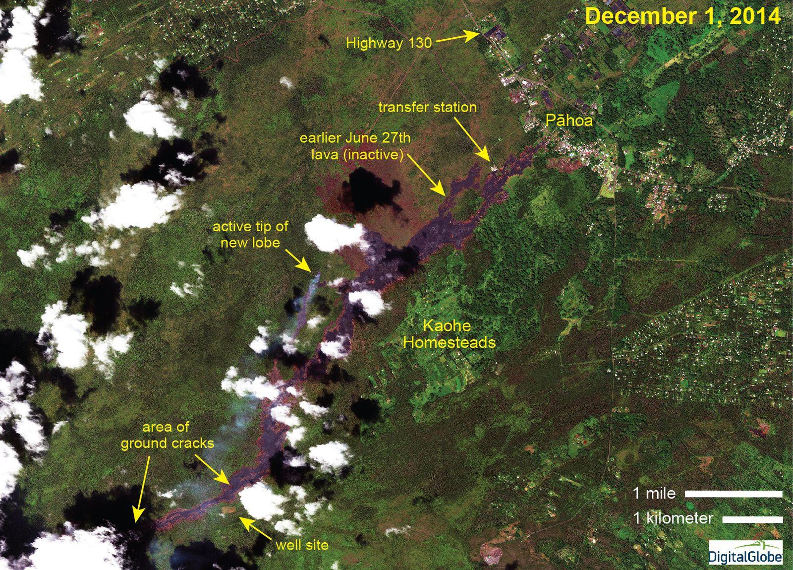 Hawaï - Coulée du 27 juin - position du nouveau lobe actif, le 1° décembre par rapport à l'ancienne partie de la coulée devenue inactive - photo et annotations HVO