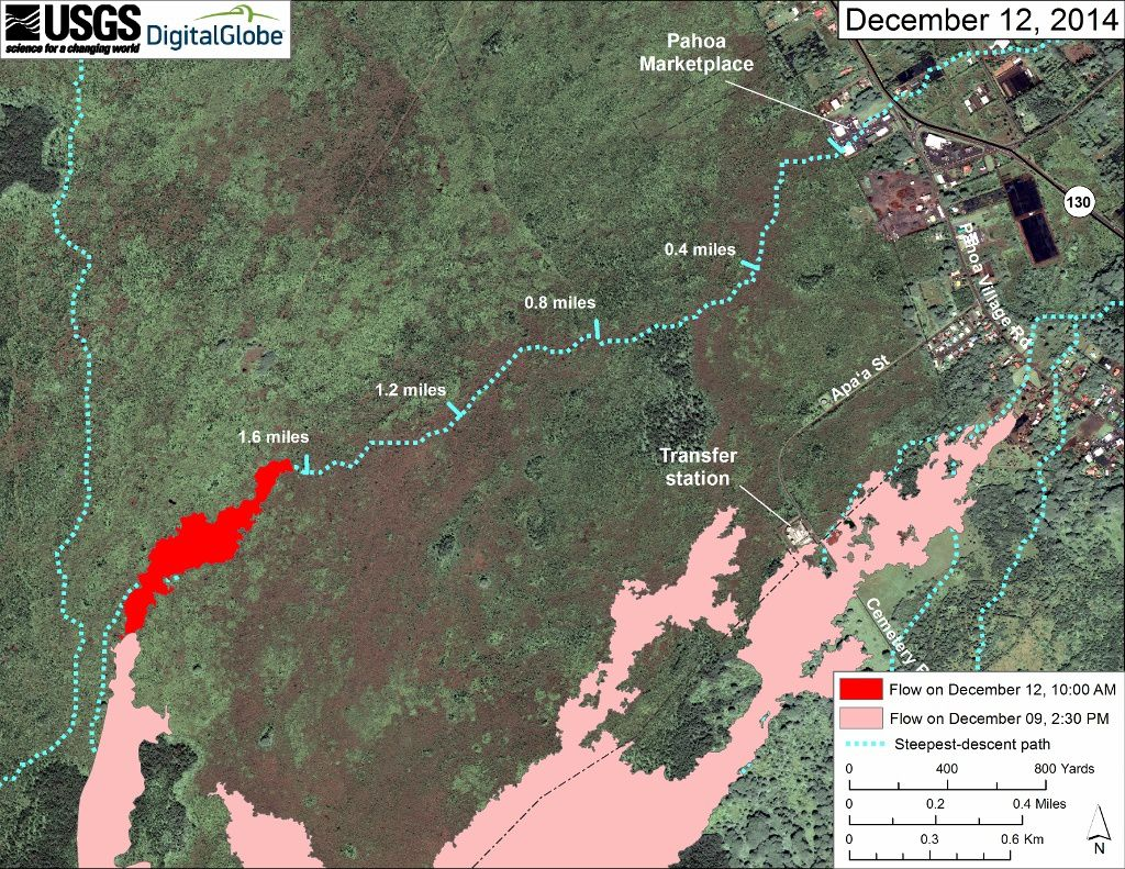 Hawaii - advance of June 27's lava flow - on top map: the 12/09/2014 - map below: 12/12/2014 - Doc. HVO