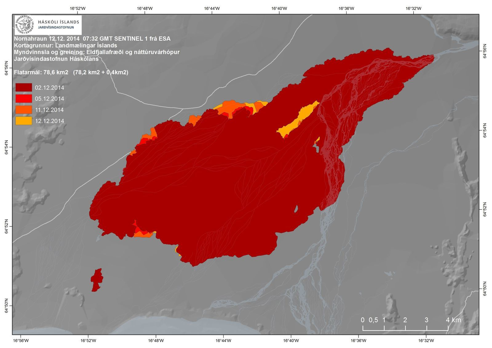 Holuhraun - evolution of the lava field between 2 and 12 December 2014 - Doc IES / IMO