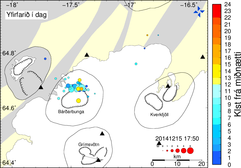 Bárðarbunga - earthquake location of 15.12.2014 between midnight and 17:50 - Doc. IMO