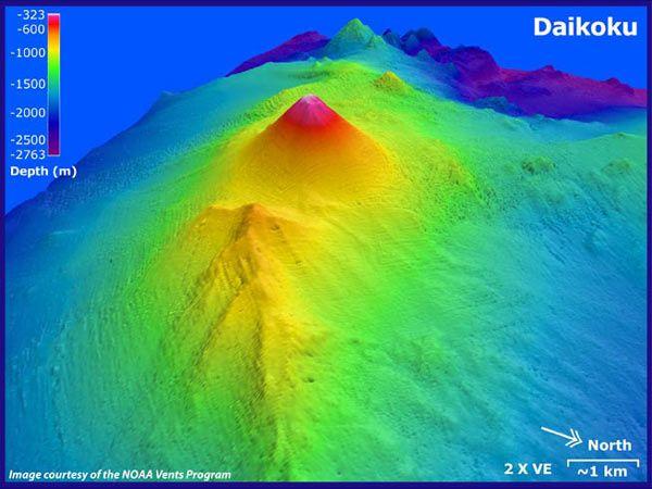 Bathymétrie 3D du seamount Daikoku - doc. NOAA Ocean Explorer