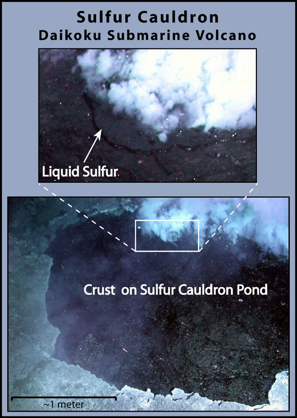 Daikoku - molten sulfur pool - Image courtesy of Submarine Ring of Fire 2006 Exploration, NOAA Vents Program