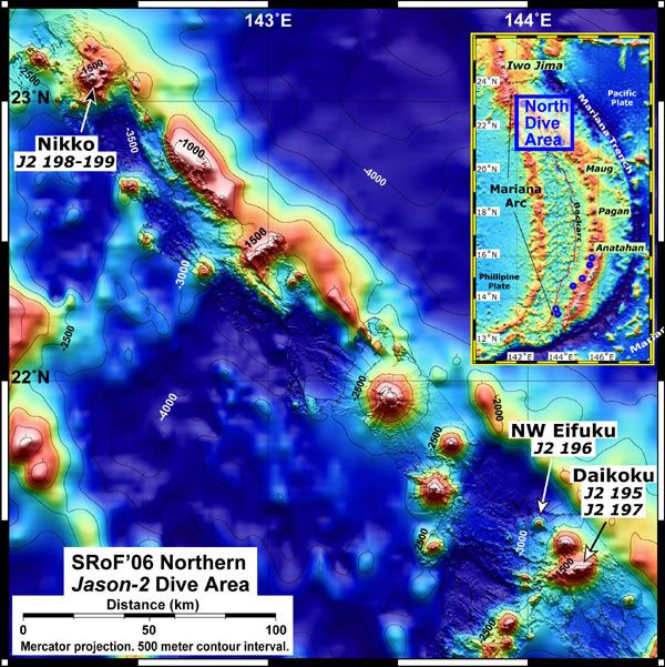 Underwater bathymetric map of Northern Mariana arc, established by NOAA in 2006 - the Daikoku seamount is at the bottom right.