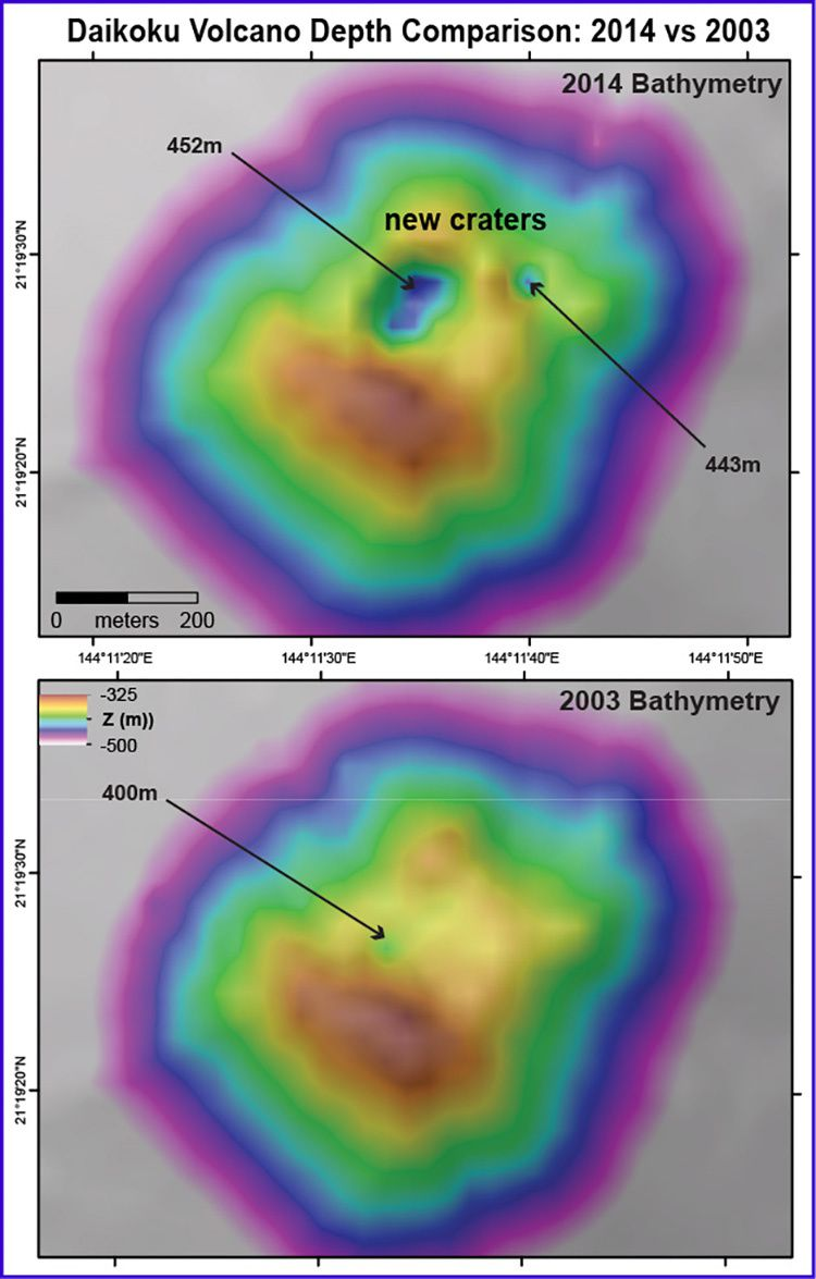 Comparative bathymetries of the top of Daikoku in 2003 and in December 2014 - a large crater formed at the top - Image courtesy of Submarine Ring of Fire 2014 - Ironman NSF / NOAA.