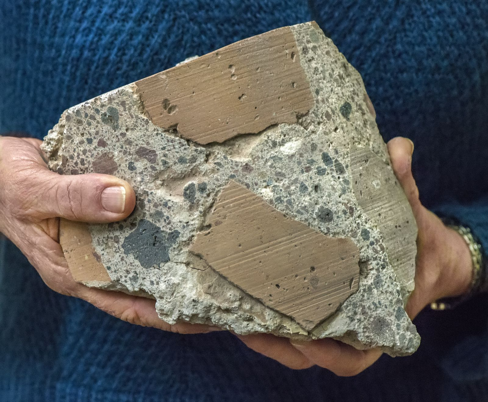 "Sample of ""Roman concrete"" - Photo: Roy Kaltschmidt, Berkeley Lab."
