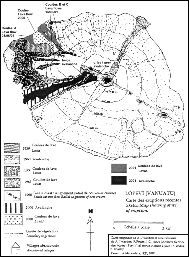 Lopevi - Map of the flows established in 2001 - from an original map by AJ. Warden Including observations by A-J. Warden and R. Priam (Archive Mines Service)&#x3B; revised and updated by Wallez S. and D. Charley&#x3B; Drafted by A. Mabonlala. Courtesy of IRD.