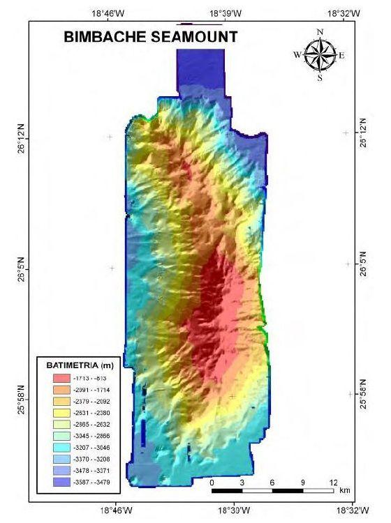 Bimbache seamount - bathymétrie 3D / in Informe Científico-Técnico de la Campaña Oceanográfica DRAGO 0511 – Vasquez & al.