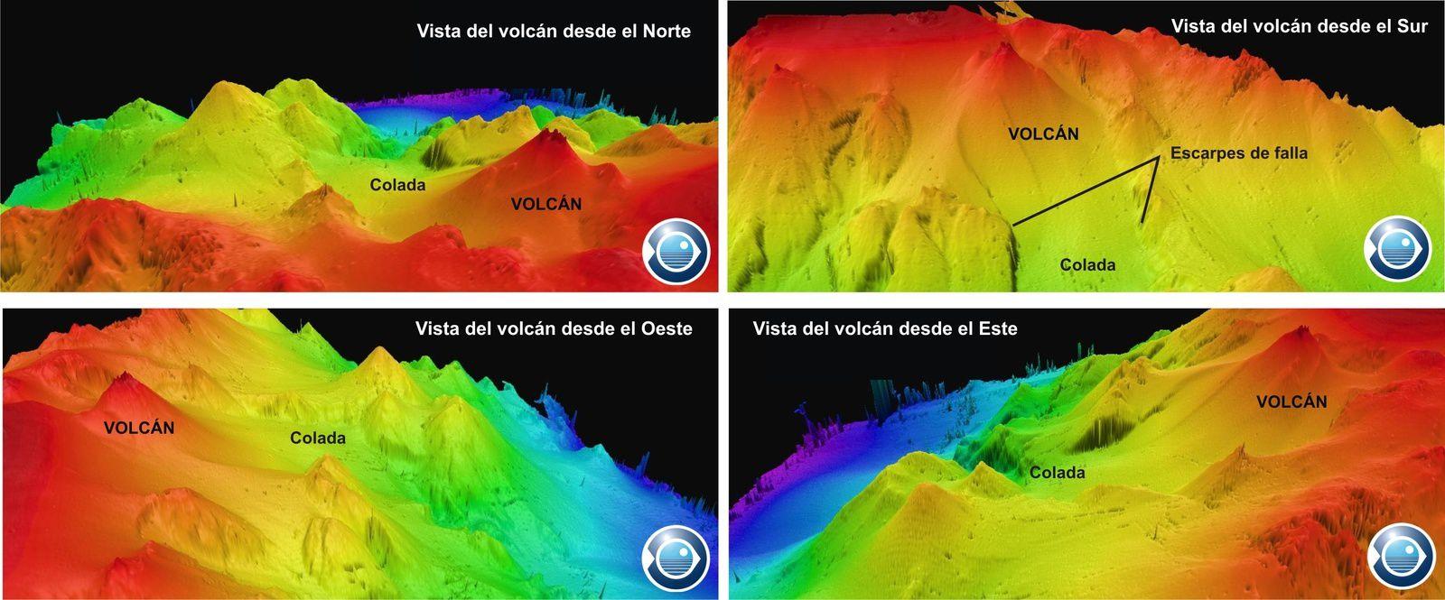 Bathymétries 3D du volcan sous-marin au sud de La Restingua / El Hierro - doc. 7-8.02.2012 / IEO