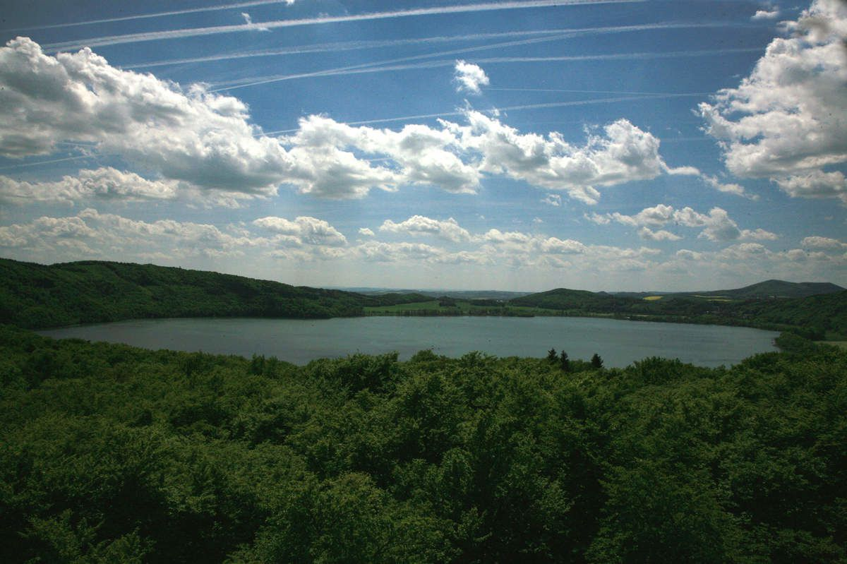 The Laacher See: a lake fills the explosion crater, the maar, of the Laacher See volcano - photo Bernard Duyck
