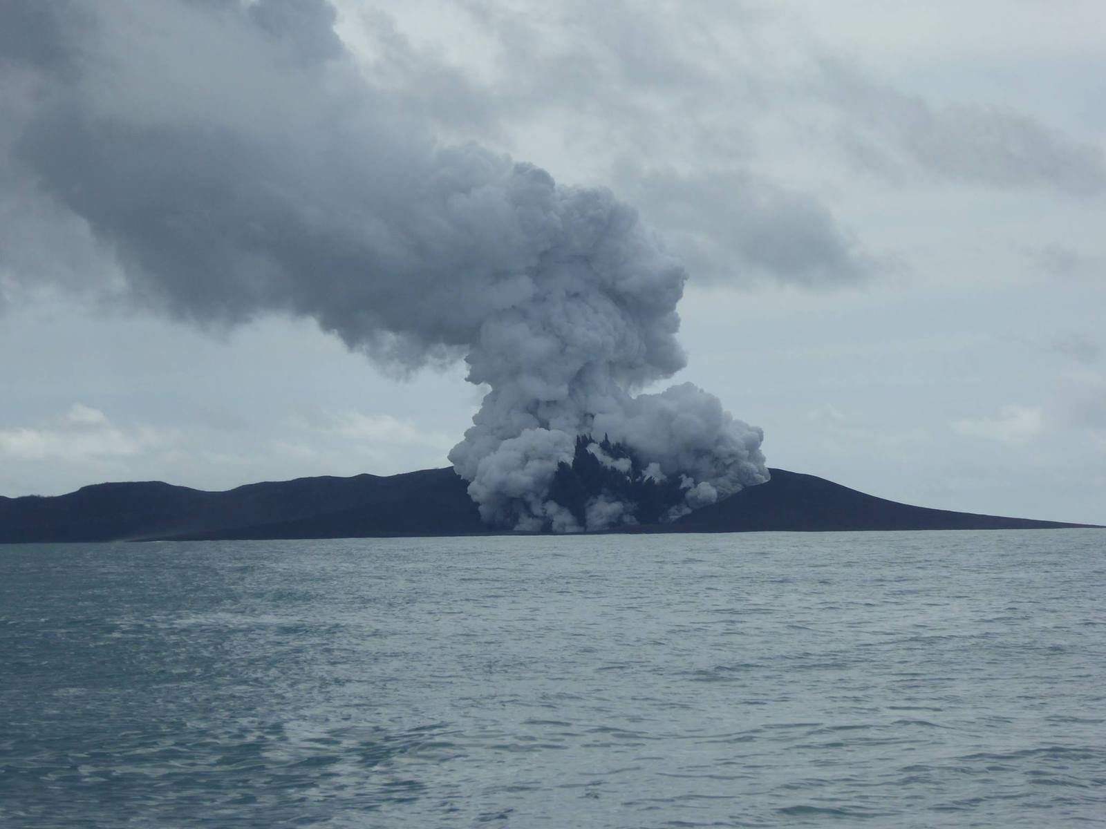 Hunga Ha'apai - cypressoïde plume and emission of gas/vapor - January 13, 2015 - photo New Zealand High Commission, Nuku'alofa, Tonga
