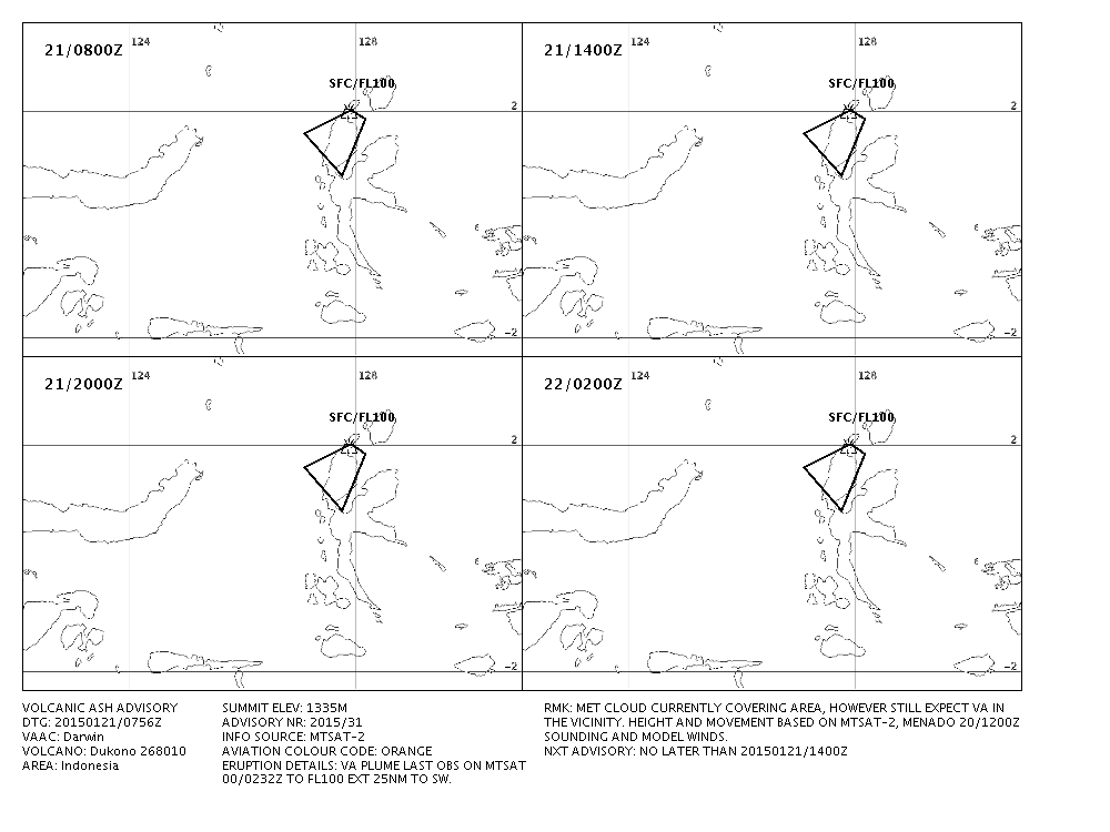 Dukono -  Prediction map of dispersio of the eruptive plume for 21-22.01.2015 - Doc. Darwin VAAC