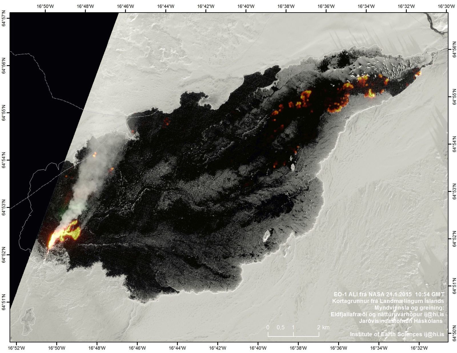 Le champ de lave d'Holuhraun le 21.01.2015 - photo Nasa EO-1