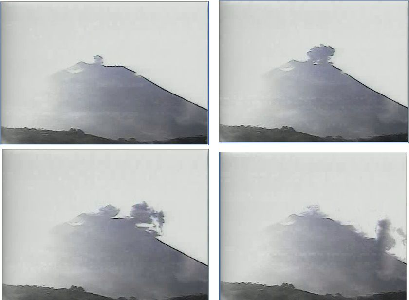Chaparrastique - ash emission seen by the camera placed at Cerro El Pacayal / MARN
