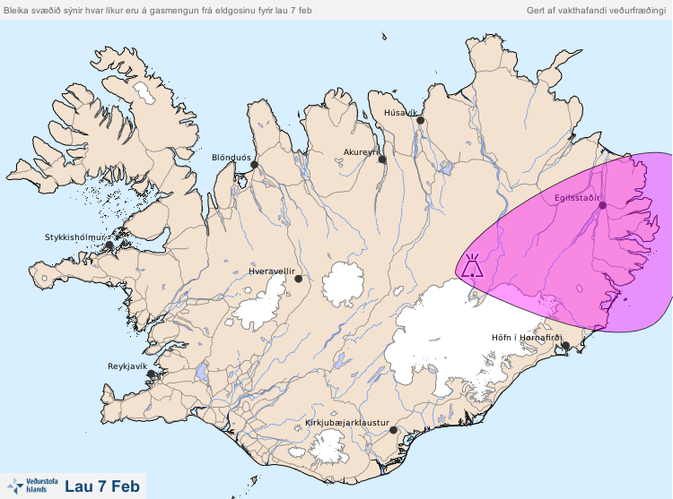 Forward map of polluted zone with gas of eruption in Holuhraun for the 07/02/2015 - Doc. IMO