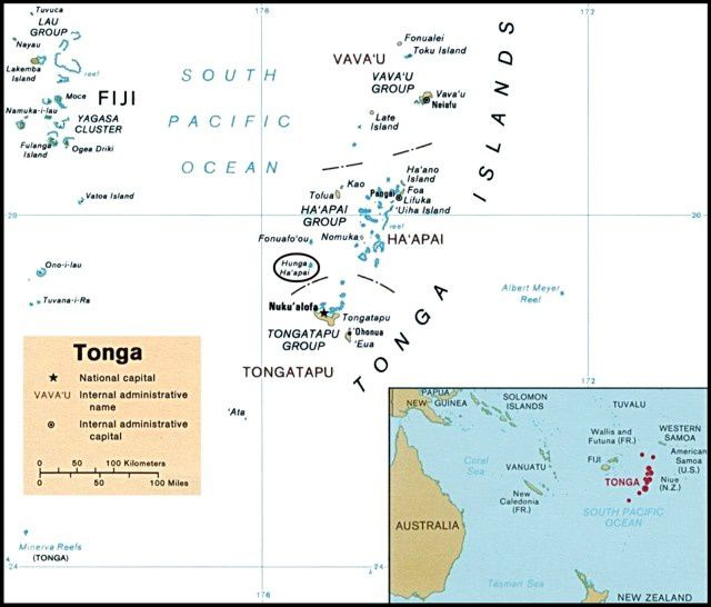 Map of Tonga - Vava'u is located in the northern group and Ha'Hapai in the central group.